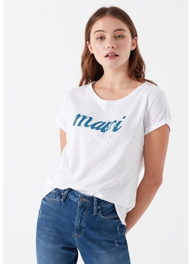 Mavi Kadın  Mavi Logo Baskılı Tişört 166422-620 Mavi